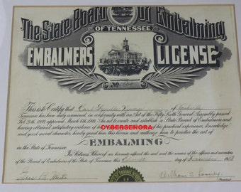 Vintage Embalmers License Mortician Funeral Home Embalming Mortuary Science Oddity Halloween Decor Copy