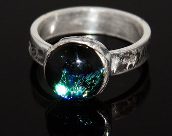 Fine Silver Blue and Green Glow Ring