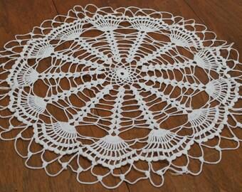 Round Handmade Crochet Doily Table Topper White Cotton Large 21 Inch Diameter