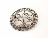 Norwegian Silver Pin- Sylvsmidja Tulip Pin- Filigree Tulip Pendant- 1950s Jewelry- Tulip Brooch- Voss Norway Brooch- 830 Silver-Designer Pin