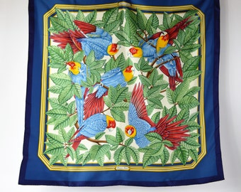 """1980s Hermes Scarf Les Perroquets by Joachim Metz Blue and Green Twill Weave Silk Hand Rolled Hems Extremely Nice Condition 35"""" Square"""