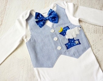 First Birthday On The Night You Were Born Tuxedo Bodysuit Vest with Matching Bow Tie