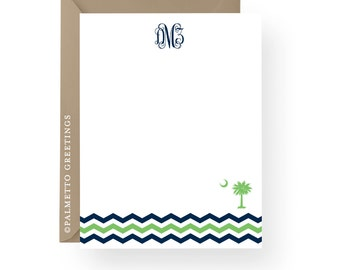 PRINTED Monogram Notecards with South Carolina Palmetto Moon Chevron Stripes Custom Stationery - Any Color and Choice of Monogram Fonts