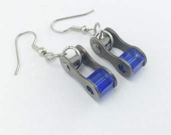 Blue bicycle jewelry, recycled bike chain earrings, blue cycling earrings, bicycle accessory