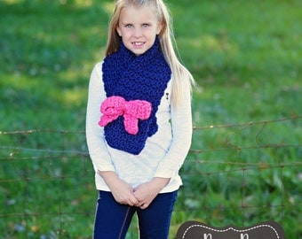 Cowl with bow / chunky cowl / cowl / teen cowl / adult cowl/ spring / winter / fall / choose your own color
