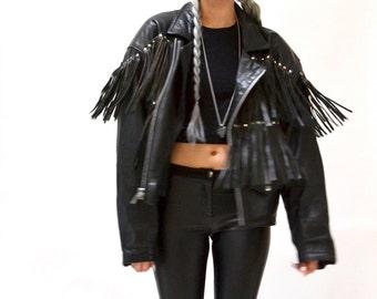 Vintage Black Leather Jacket with Fringe Size Medium Large// Vintage Black Leather Biker Jacket with Fringe size Large Motorcycle Jacket