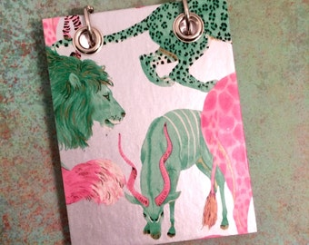 Safari Animals - Animal Notebook Recycled Note Book - Small Refillable Notepad - Upcycled Gift Wrap