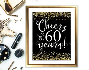 Cheers sign - cheers to 60 years - 60th birthday