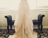 blush and champagne 2 color tone chiffon wedding skirt-made to order