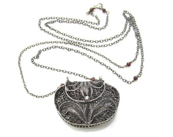 Vintage Silver Filigree Purse Pendant on Long Chain Necklace