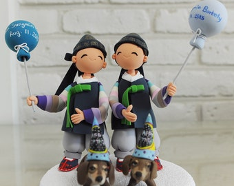Twin in Korean Hanbok birthday cake topper