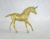 Vintage Gold Glittered Unicorn Horse Figures  /  Fantasy Angel Fairy Unicorn Horse Figurines  /  Kitsch Recycled Horse Toys
