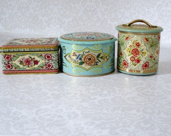 Decorative Storage Tins Made in Holland, Vintage Turquoise Tin Canister Instant Collection, Floral Storage Tins  SALE swirlingO11