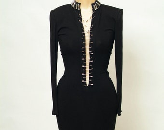 Vintage Dress / 90s dress / 1990s  / Party dress / Black dress / Little black dress / Bodycon Mini  / punk rock / 90s grunge / toxic vision