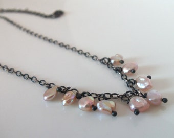 Vintage Pearl Handmade Necklace with Oxidized Sterling Silver