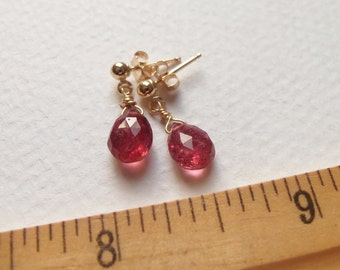 Rubellite Tourmaline Gemstone Handmade Dangly Earrings with 14kt Golg Fill Wire Wrapped Jewelry