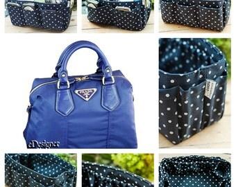 Purse organizer extra sturdy blue polka dots extra large 30x12cm
