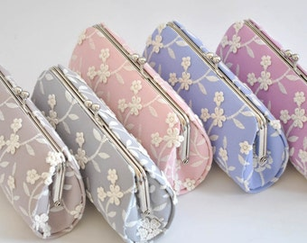 LACELY CLUTCH - Wedding clutch_Bridal clutch_Bridesmaid's clutch_Shabby chic_Pink Orchid_Serenity_Rose Quartz_Light Gray_Pale Mauve