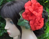 Flamenco RED Two Roses Hair Flower Comb