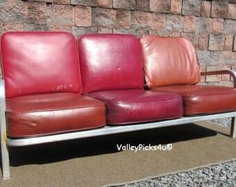 Vintage Mid Century Modern Emeco Era Naval Aircraft Aluminum Lounge Sofa Couch