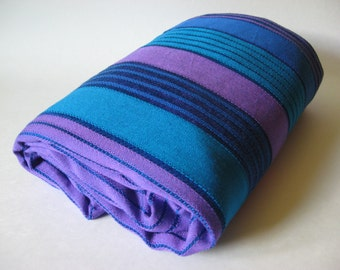 REDUCED Brilliant netted bright blue purple turquoise stripe 60s curtain fabric open weave material 4 yards available