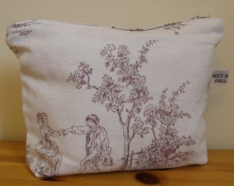 Cassie Cosmetics Pouch or Purse in Cream and Burgundy Toile De Jouy Ready to Ship