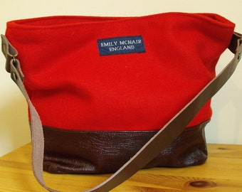 Tamsin Handbag in Scarlet Woolen Pilot Cloth Leather Detail Tote Bucket Shoulder Bag One of a Kind Ready to Ship