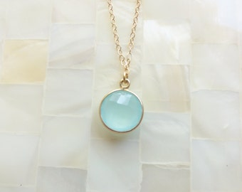 Step-Cut Faceted Blue Chalcedony Vermeil Bezel Round Pendant on Gold Chain Necklace (N1730)
