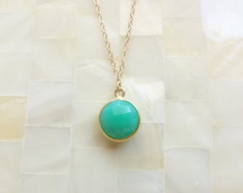 Step-Cut Faceted Green Chrysoprase Vermeil Bezel Round Pendant on Gold Chain Necklace (N1731)
