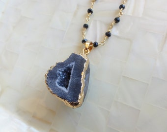 Gold Edge Sparkling Black Druzy Pendant on Faceted Black Spinel Rondelle Vermeil Wire Wrapped Chain Necklace (N1683)