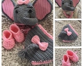 Elephant Hat & Diaper Cover, Crochet Baby hat and diaper cover,