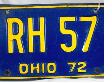 1972 Ohio license plates Rh 57 front and rear