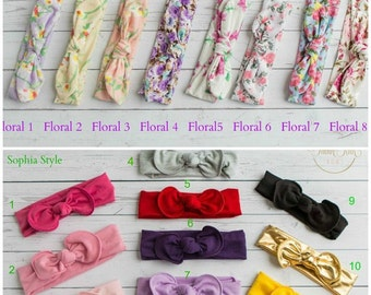 CLEARANCE Baby Headbands, Square knot & Dots  Head wraps, Baby Head wraps, Jersey Knit Headwraps, Baby Headbands, Knott Headband,
