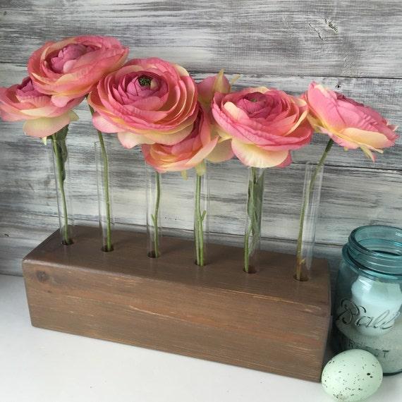 Test tube vase wood block flower rustic centerpiece