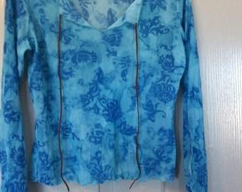Lace mesh batik tie-dye tribal blouse stretch top/marked XL/fit S-L/no flaws/V neck/leather tie