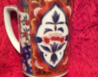 Porcelain mug hand-painted Oriental no flaws multicolored