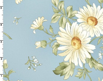 Daisies in Blue 8510-B  GENTLE BREEZE by Jan Douglas  for Maywood Fabrics - By the Yard