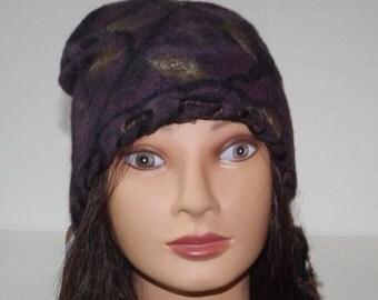 Nuno felted hat. Wearable art. Designer hat nuno felt. Slouchy hat, beanie hat, winter hat