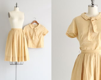 Vintage Two Piece Outfit . Full Circle Skirt Set . Mustard Yellow 1950s Dress Set . Cotton Day Dress