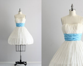 Vintage Dress . Cupcake Party Dress . 50s Dress . White Chiffon Full Skirt Dress
