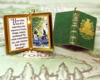 The Wind in the Willows by Kenneth Grahame - Miniature Book Charm Quote Pendant - for charm bracelet or necklace. Custom available!