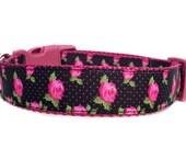 Rose Dog Collar / Polka Dot Dog Collar / Black Pink Dog Collar / Girl Dog Collar / Retro Dog Collar / Polka Dot Flower Dog Collar