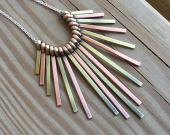 Antique Gold, Antique Copper Necklace- Graduated sizes, fan-style necklace on your choice of chain