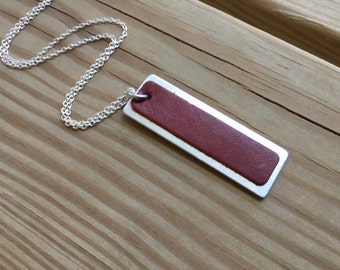 Red and Silver- Metal and Leather Necklace