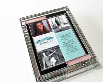 Stained Glass High School Graduation Keepsake Box Commencement Memory Gift Box Scrapbook Style Custom Made