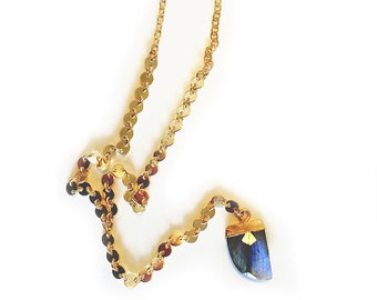 Labradorite Coin Y-Necklace - Labradorite necklace, lariat necklace, gemstone necklace