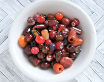 bowl of cherries india glass bead mix, large bead mix, red pink orange