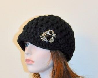 Black Hat Brimmed Beanie Flower Newsboy Cap Crochet Winter Women Wool CHOOSE COLOR Black Girly Gift under 50
