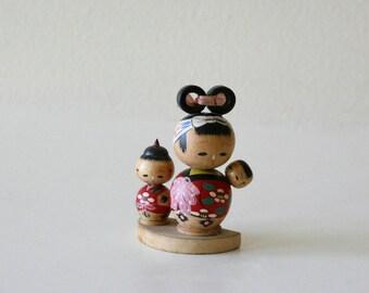 Vintage Kokeshi Doll, Bubble Head, Family, Traditional, Japan