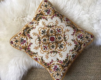 vintage embroidered decorative throw pillow / floral / yellow